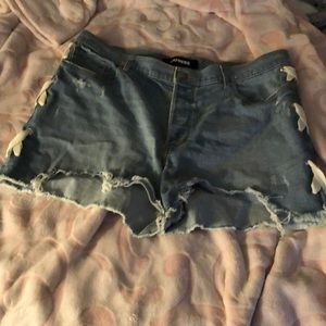 Express button up Lace up on side blue jean shorts